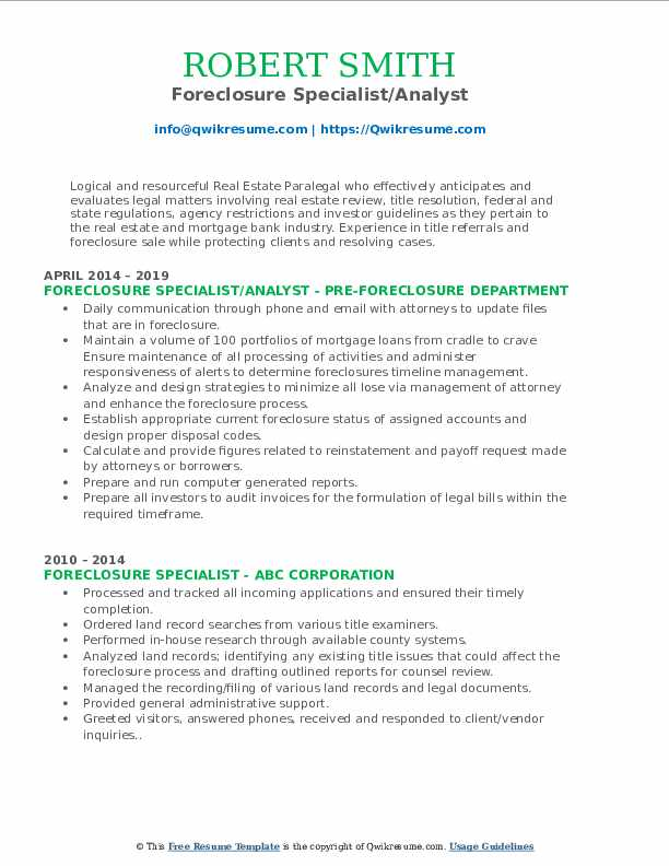 Foreclosure Specialist/Analyst Resume Format