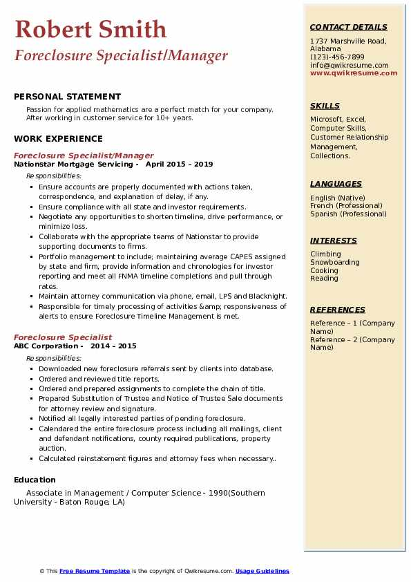 Foreclosure Specialist/Manager Resume Format