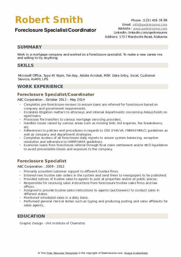 Foreclosure Specialist/Coordinator Resume Model