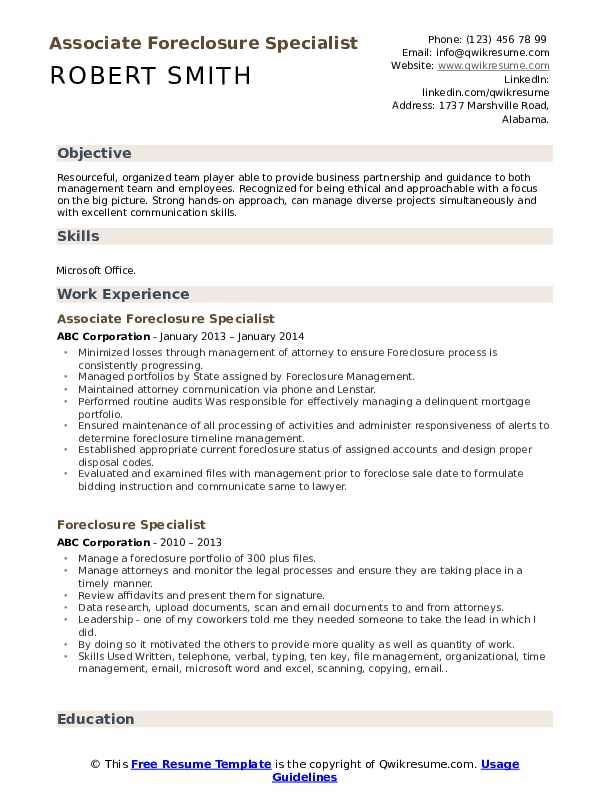 Associate Foreclosure Specialist Resume Format