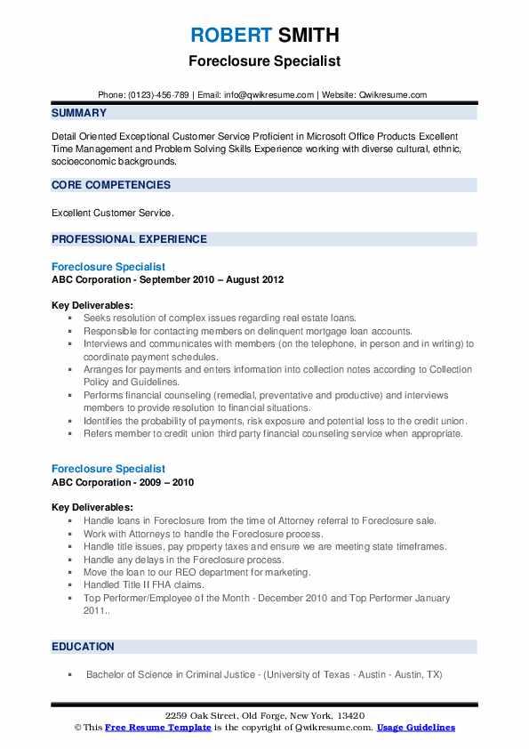 Foreclosure Specialist Resume example