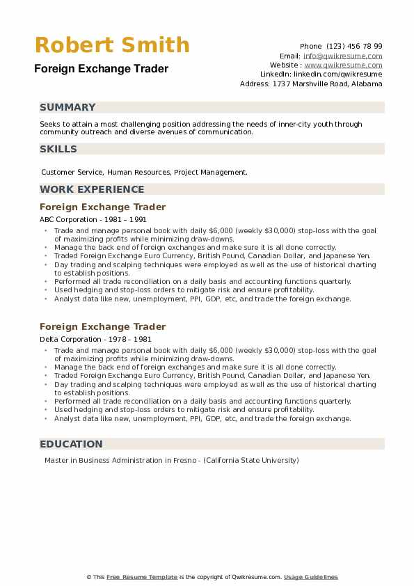 Foreign Exchange Trader Resume example