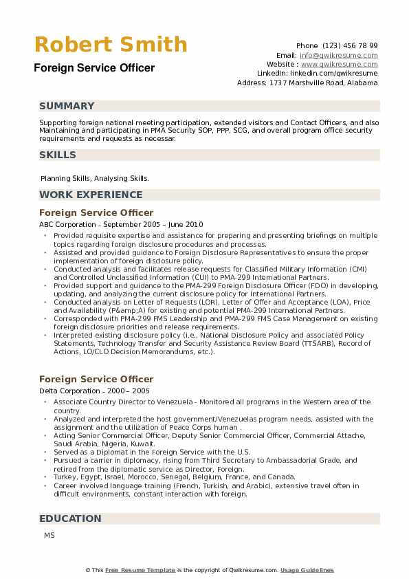 Foreign Service Officer Resume example