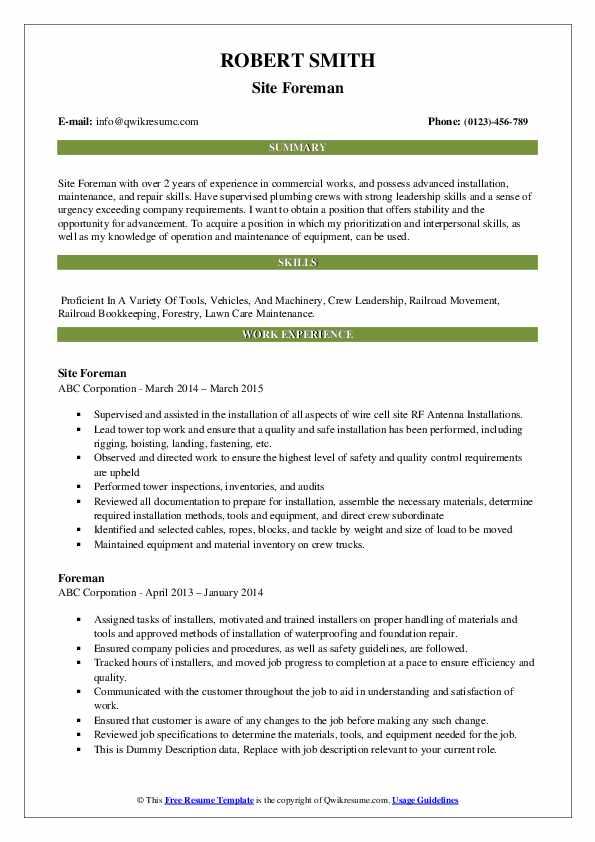 Site Foreman Resume Model