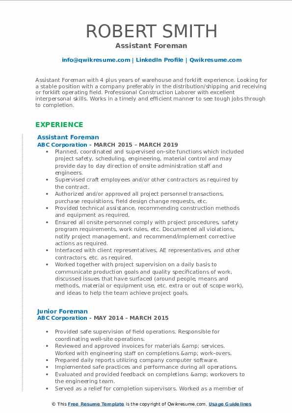 foreman resume samples