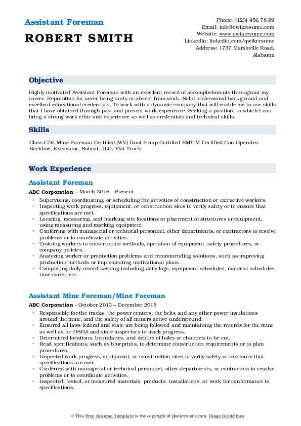 Assistant Foreman Resume Example