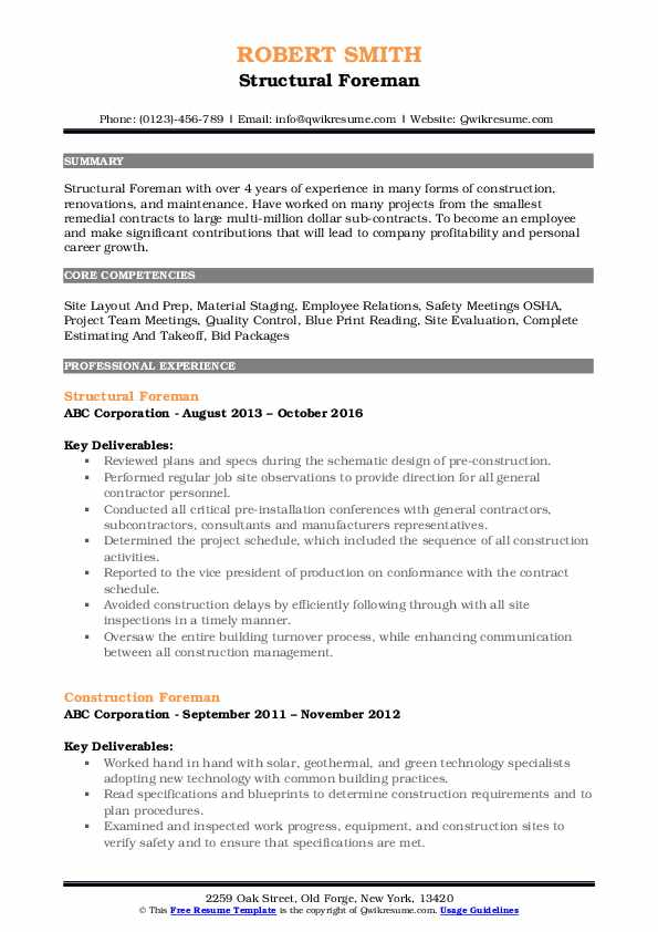 Structural Foreman Resume Template