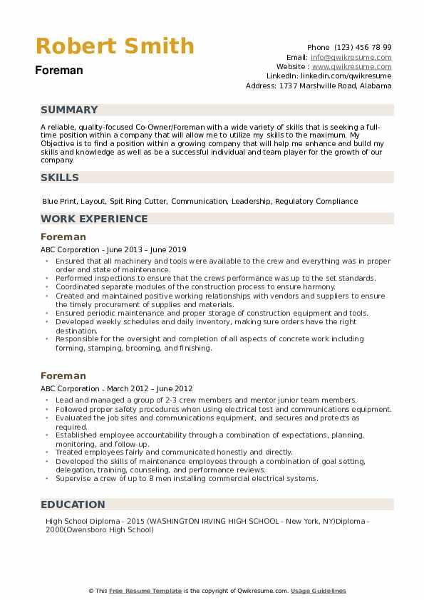 Foreman Resume example