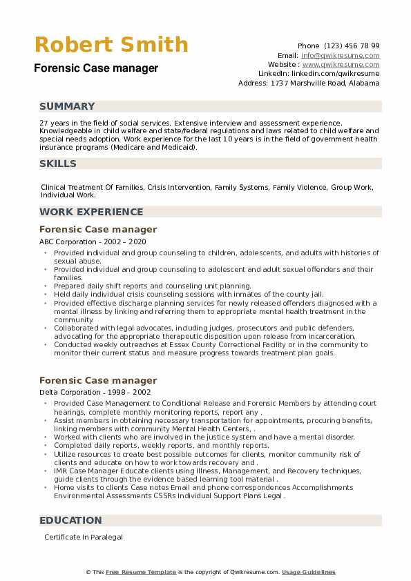 Forensic Case manager Resume example