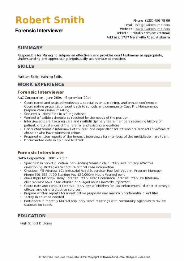 Forensic Interviewer Resume example