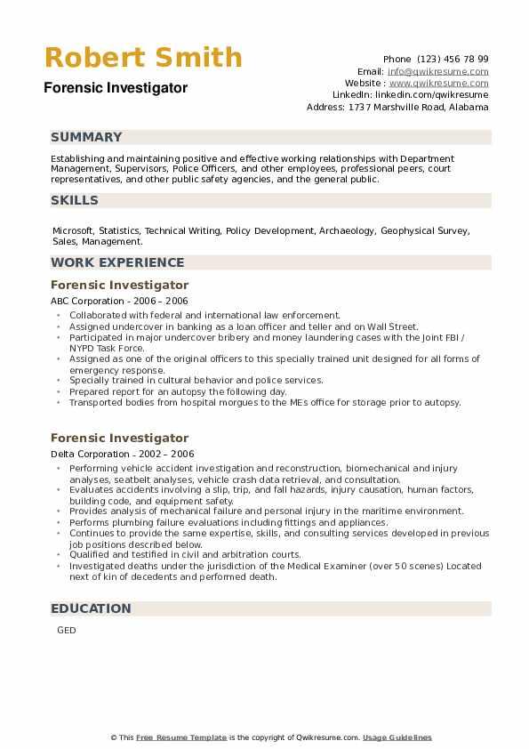 Forensic Investigator Resume example