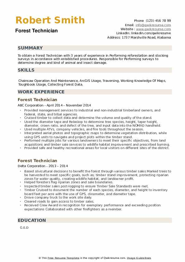 Forest Technician Resume example