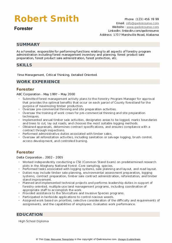 Forester Resume example