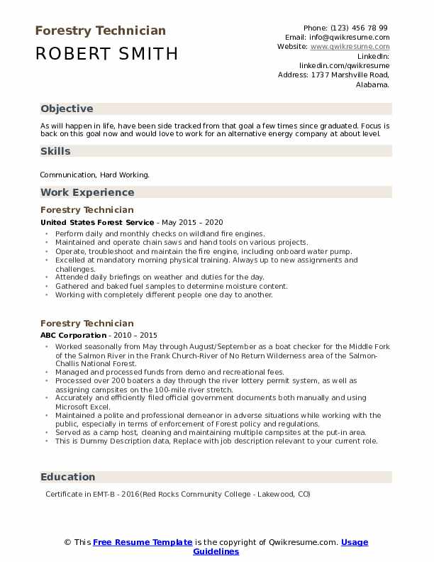 Forestry Technician Resume example