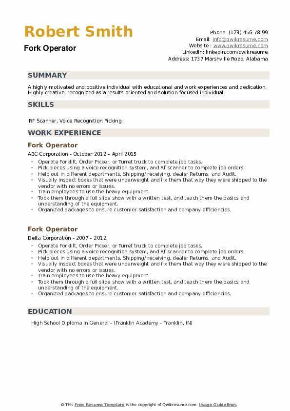 Fork Operator Resume example