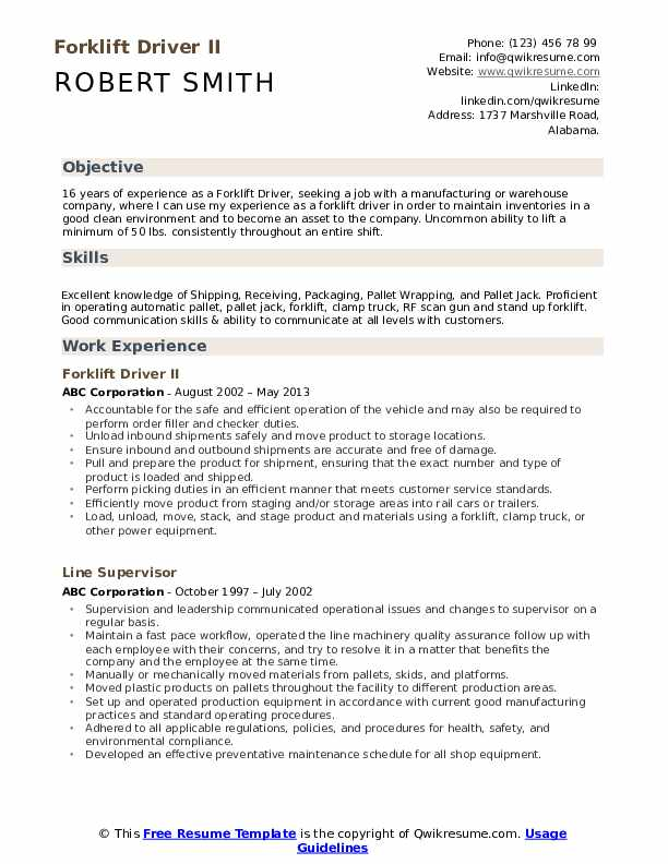 Forklift Driver Resume Samples Qwikresume
