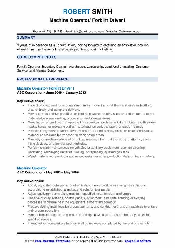 forklift driver resume samples