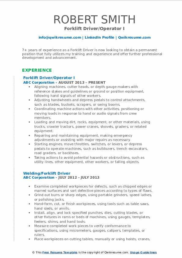 Forklift Driver/Operator I Resume Model