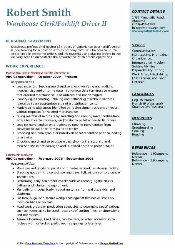 Forklift Driver Resume Samples | QwikResume