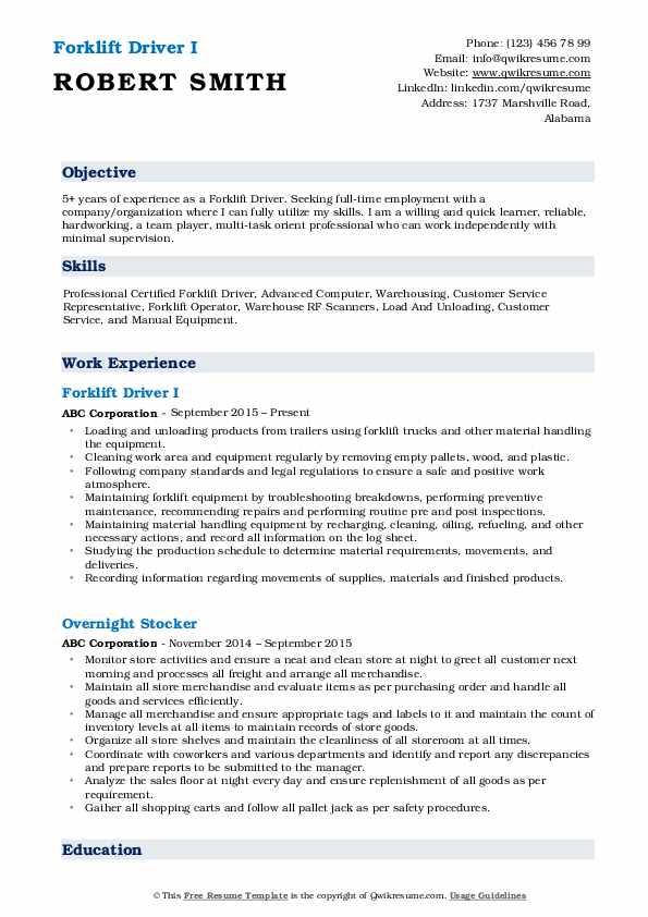 Forklift Driver I Resume Format