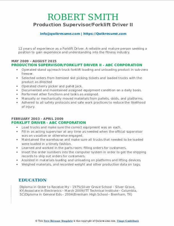 Production Supervisor/Forklift Driver II Resume Example