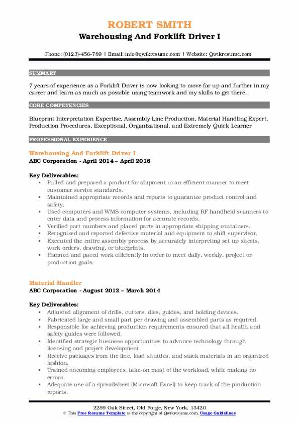 Warehousing And Forklift Driver I Resume Format