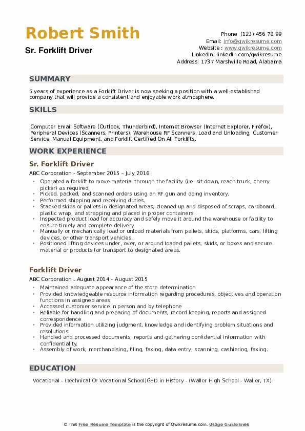 Forklift Driver Resume example