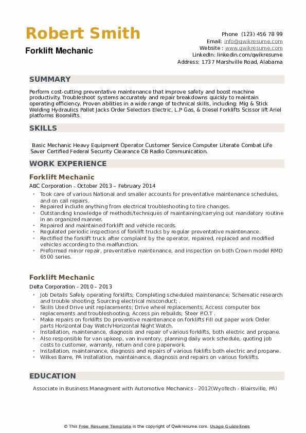 Forklift Mechanic Resume example