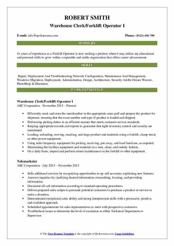 Warehouse Clerk/Forklift Operator I Resume Format