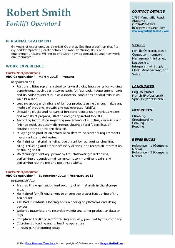 Forklift Operator I Resume Format