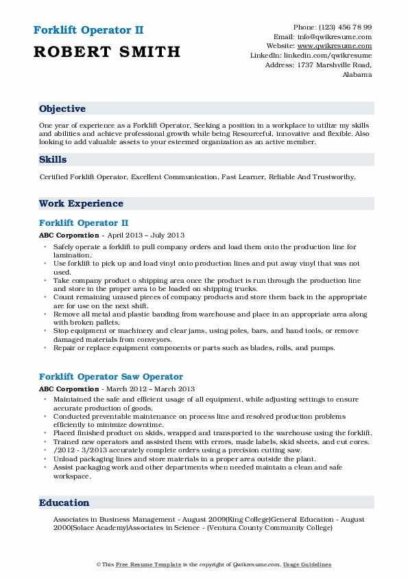 Forklift Operator II Resume Model
