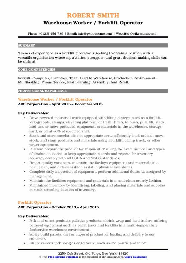 Forklift Operator Resume Samples Qwikresume