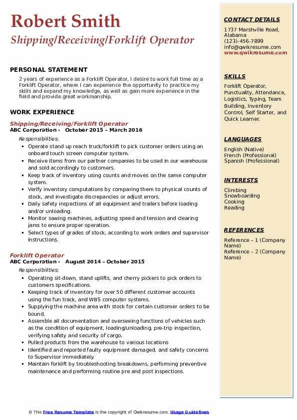 Shipping/Receiving/Forklift Operator Resume Model