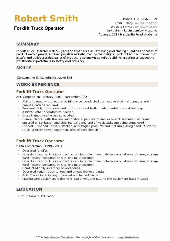 Forklift Truck Operator Resume example