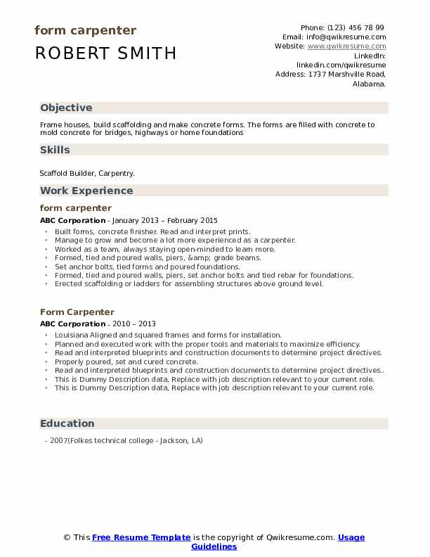 Form Carpenter Resume example