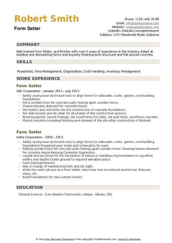 Form Setter Resume example