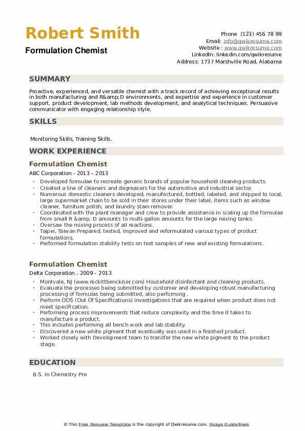 Formulation Chemist Resume example