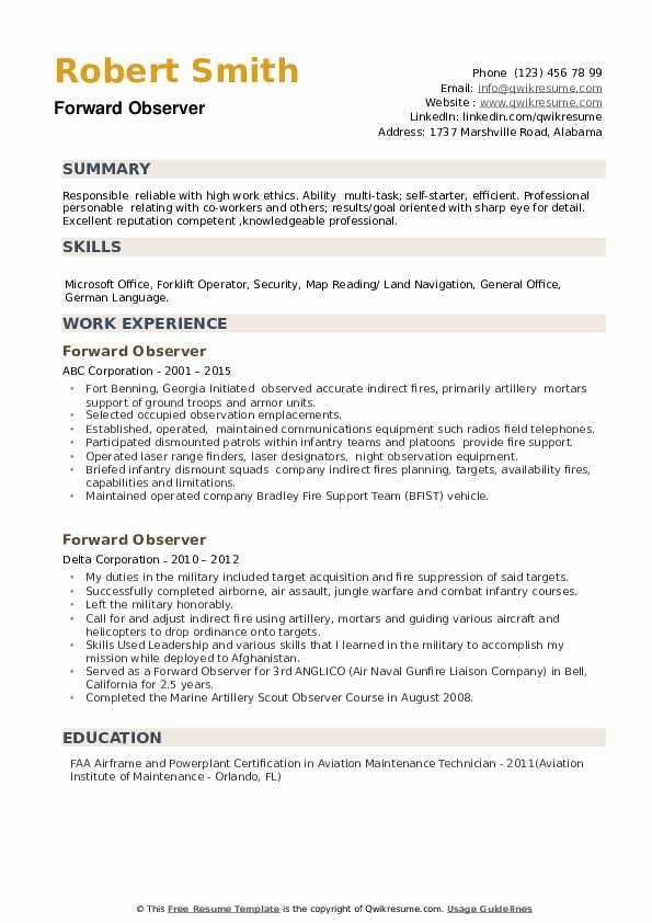 Forward Observer Resume example