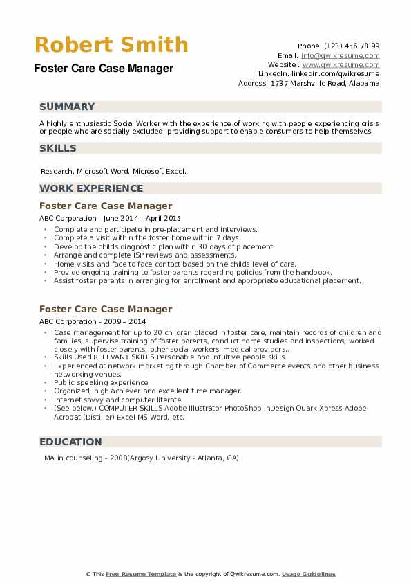 Foster Care Case Manager Resume example