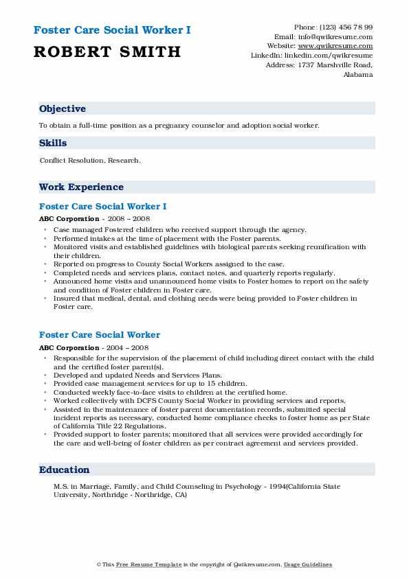 foster care social worker resume samples  qwikresume