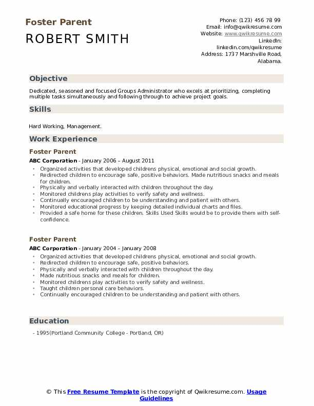 Foster Parent Resume example