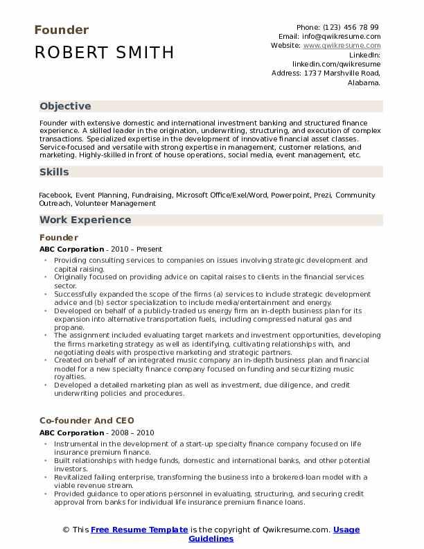 Founder Resume Sample