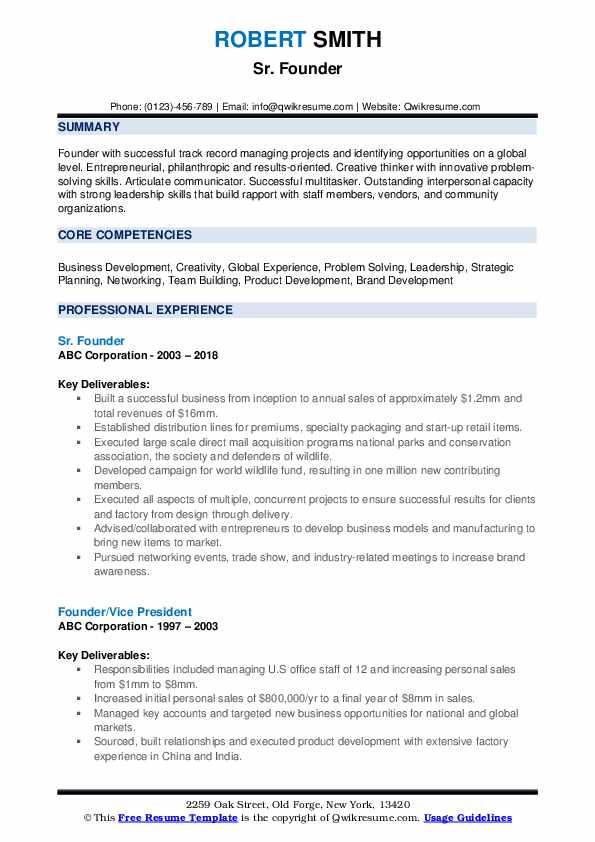 Sr. Founder Resume Format