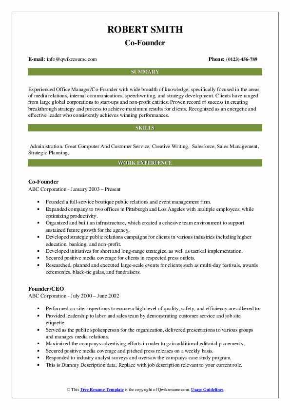 Co-Founder Resume Sample