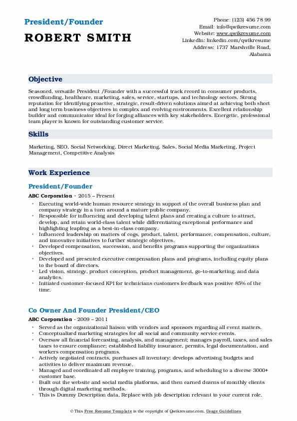 President/Founder Resume Model