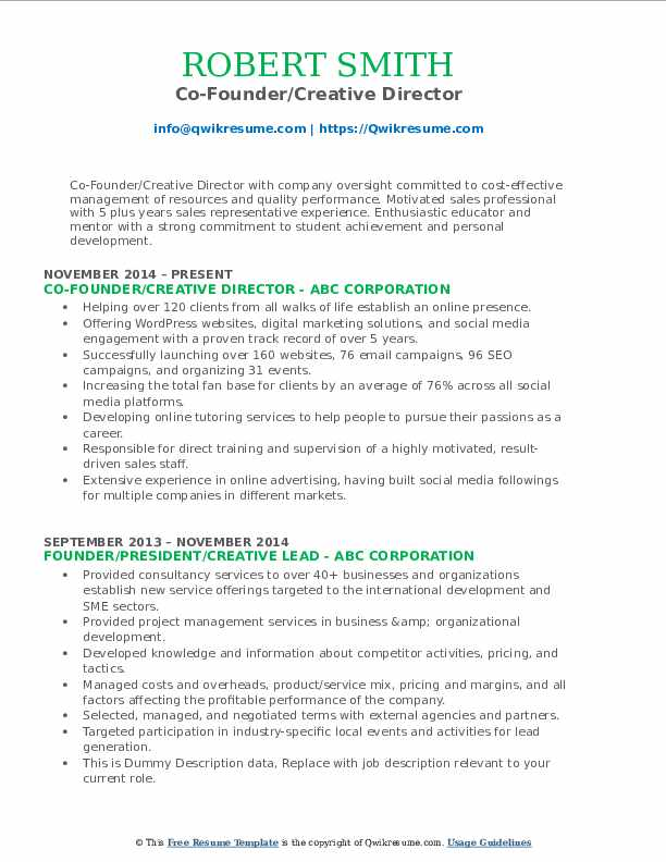 Co-Founder/Creative Director Resume Format