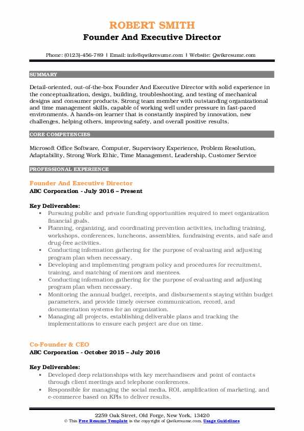 Founder And Executive Director Resume Sample