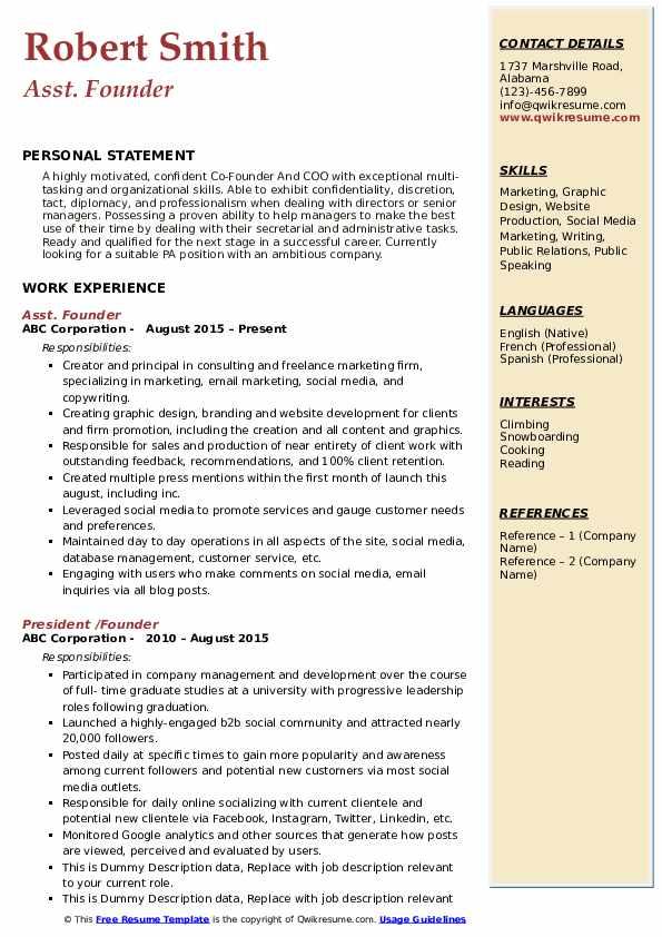 Asst. Founder  Resume Model