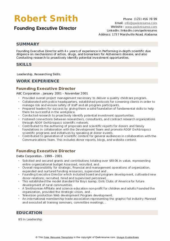 Founding Executive Director Resume example