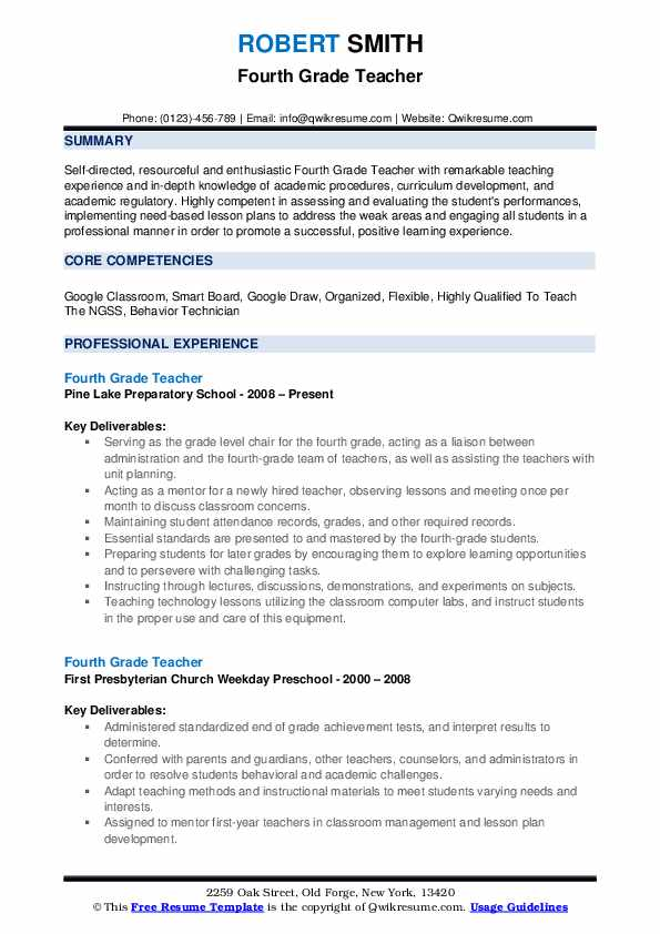 Fourth Grade Teacher Resume Example